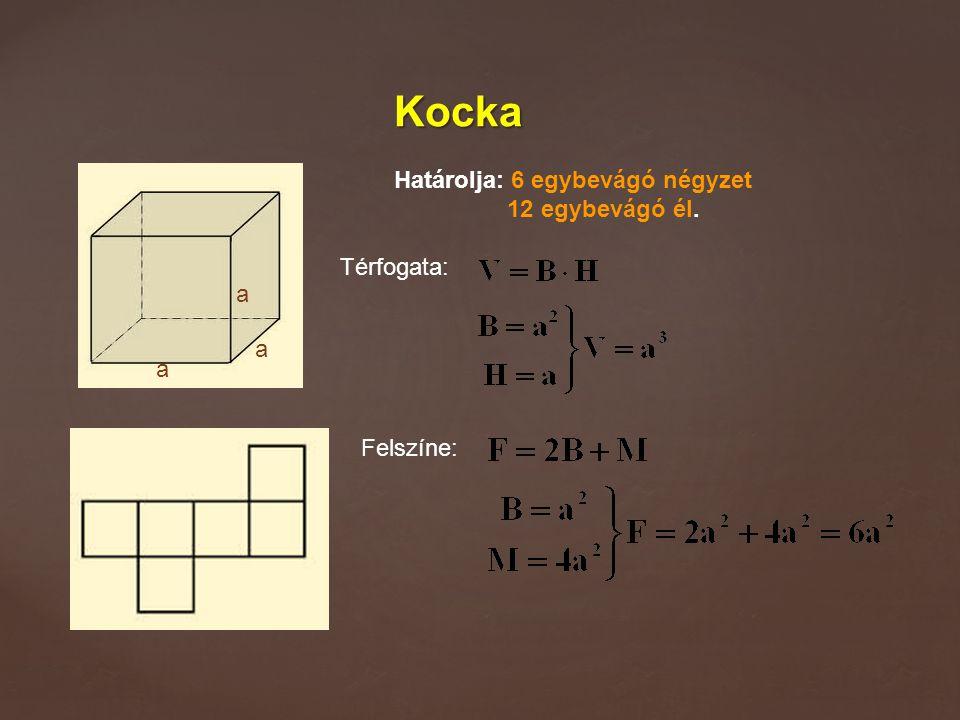 Kocka Határolja: 6 egybevágó négyzet 12 egybevágó él. Térfogata: Felszíne: a a a