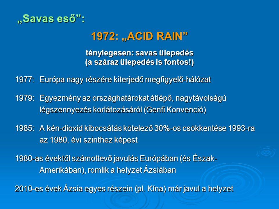 """""""Savas eső : 1977:Európa nagy részére kiterjedő megfigyelő-hálózat 1979:Egyezmény az országhatárokat átlépő, nagytávolságú légszennyezés korlátozásáról (Genfi Konvenció) 1985:A kén-dioxid kibocsátás kötelező 30%-os csökkentése 1993-ra az 1980."""