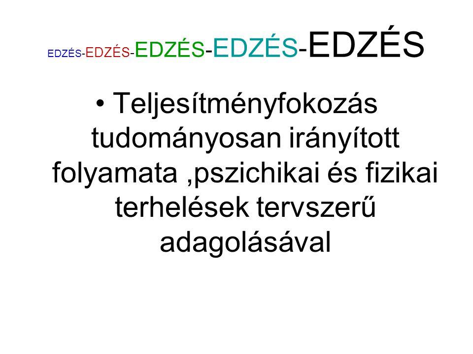 EDZÉS- EDZÉS- EDZÉS- EDZÉS- EDZÉS Teljesítményfokozás tudományosan irányított folyamata,pszichikai és fizikai terhelések tervszerű adagolásával