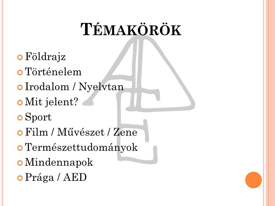 T ÉMAKÖRÖK Földrajz Történelem Irodalom / Nyelvtan Mit jelent.