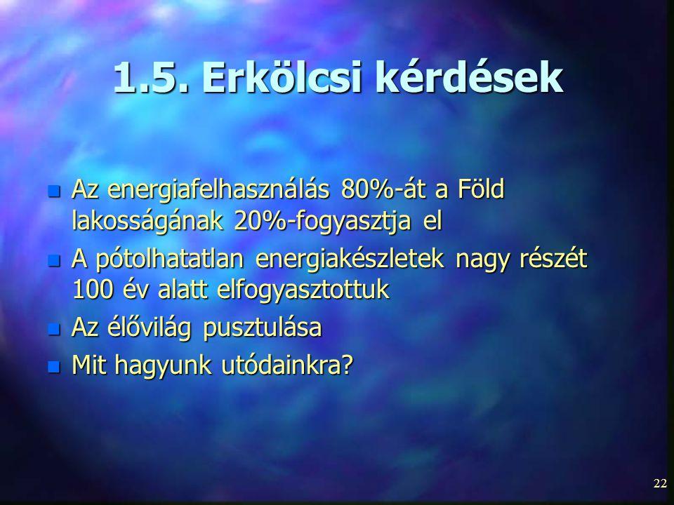 22 1.5. Erkölcsi kérdések n Az energiafelhasználás 80%-át a Föld lakosságának 20%-fogyasztja el n A pótolhatatlan energiakészletek nagy részét 100 év