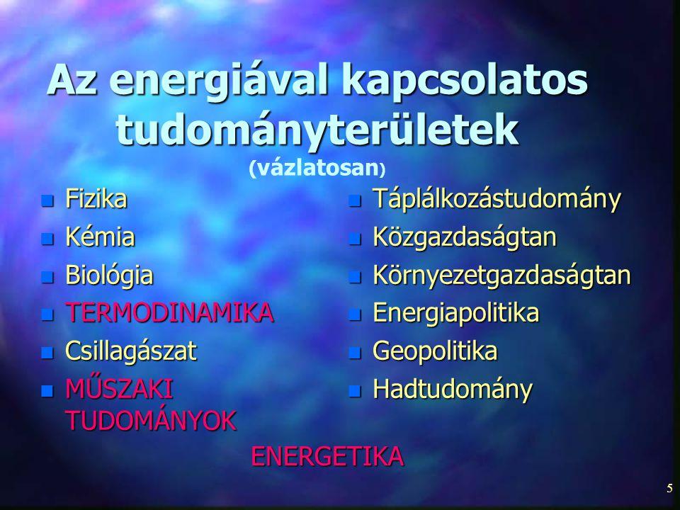 5 Az energiával kapcsolatos tudományterületek Az energiával kapcsolatos tudományterületek ( vázlatosan ) n Fizika n Kémia n Biológia n TERMODINAMIKA n Csillagászat n MŰSZAKI TUDOMÁNYOK n Táplálkozástudomány n Közgazdaságtan n Környezetgazdaságtan n Energiapolitika n Geopolitika n Hadtudomány ENERGETIKA