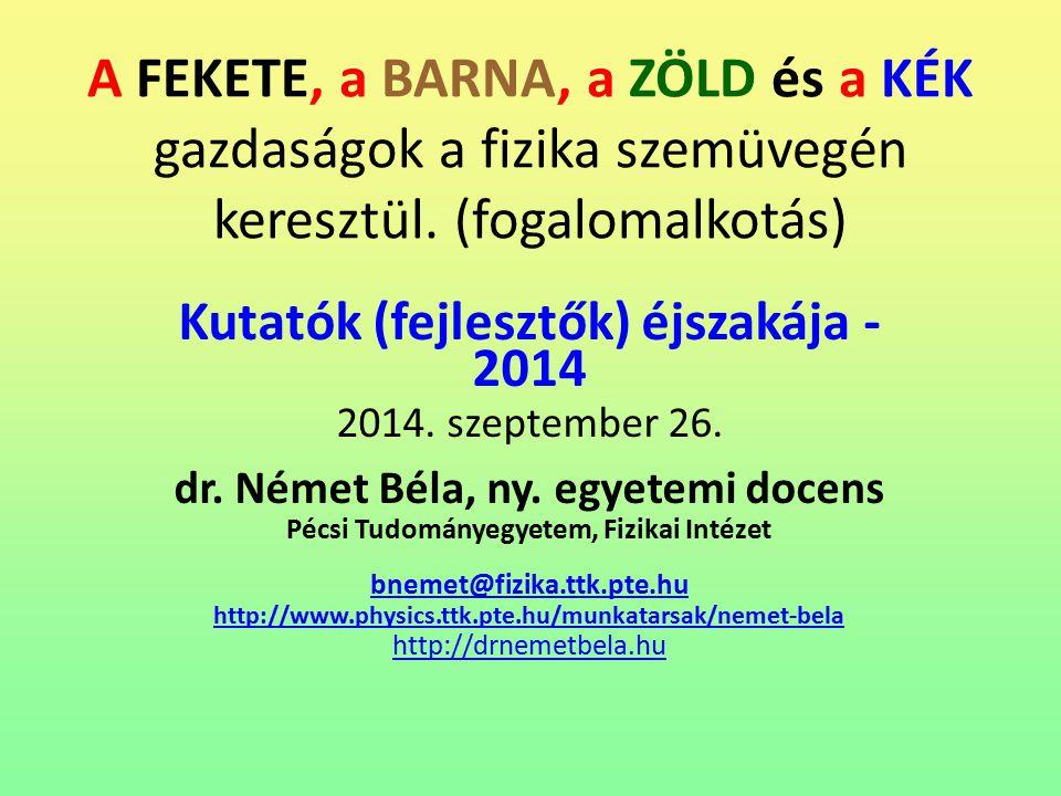 Világ elsődleges energia felhasználása 2014.09.26.Fekete, Barna, Zöld, Kék32