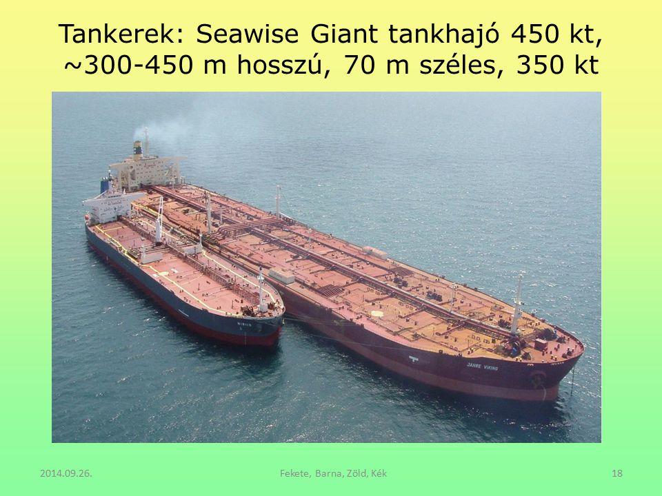 Tankerek: Seawise Giant tankhajó 450 kt, ~300-450 m hosszú, 70 m széles, 350 kt 2014.09.26.Fekete, Barna, Zöld, Kék18