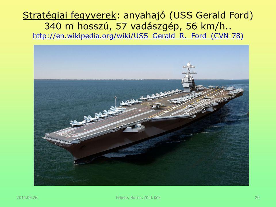 Stratégiai fegyverek: anyahajó (USS Gerald Ford) 340 m hosszú, 57 vadászgép, 56 km/h.. http://en.wikipedia.org/wiki/USS_Gerald_R._Ford_(CVN-78) http:/