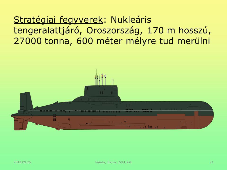 Stratégiai fegyverek: Nukleáris tengeralattjáró, Oroszország, 170 m hosszú, 27000 tonna, 600 méter mélyre tud merülni 2014.09.26.Fekete, Barna, Zöld,