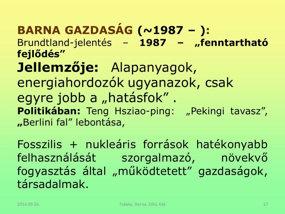 """2014.09.26.Fekete, Barna, Zöld, Kék27 BARNA GAZDASÁG (~1987 – ): Brundtland-jelentés – 1987 – """"fenntartható fejlődés"""" Jellemzője: Alapanyagok, energia"""