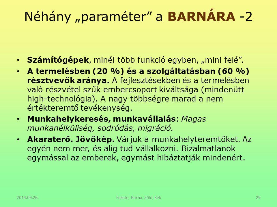 """Néhány """"paraméter"""" a BARNÁRA -2 Számítógépek, minél több funkció egyben, """"mini felé"""". A termelésben (20 %) és a szolgáltatásban (60 %) résztvevők arán"""