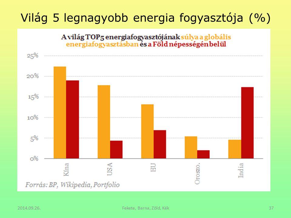 Világ 5 legnagyobb energia fogyasztója (%) 2014.09.26.Fekete, Barna, Zöld, Kék37