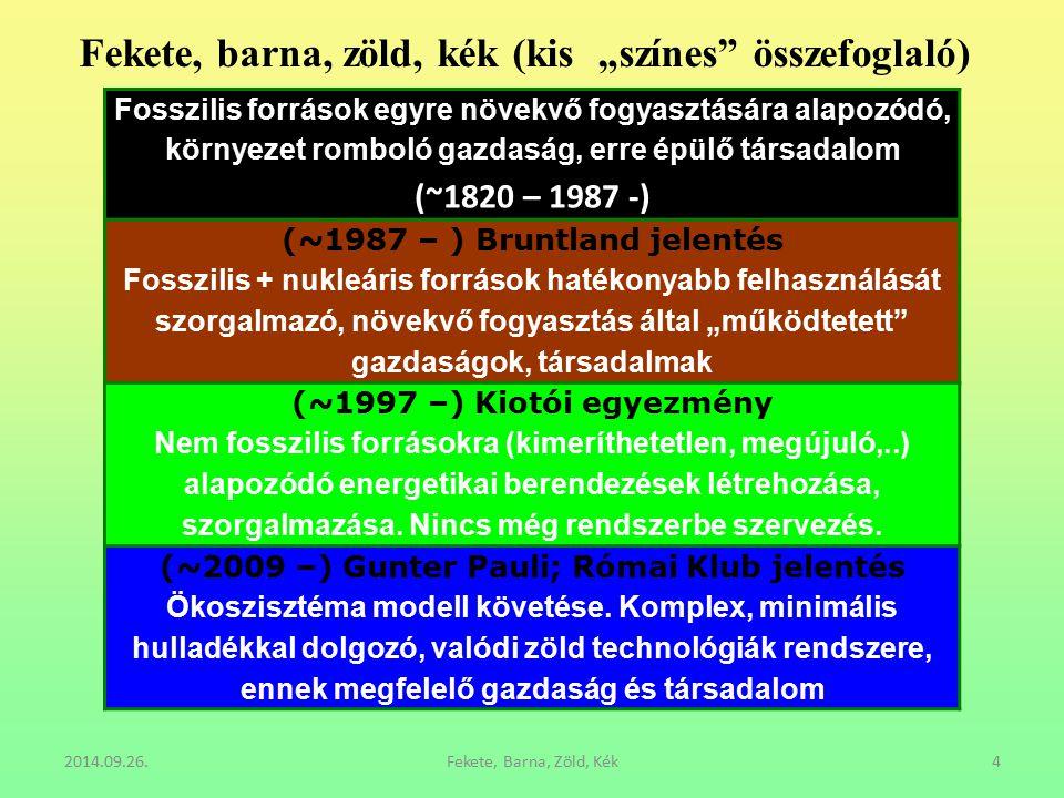 """2014.09.26.Fekete, Barna, Zöld, Kék4 Fekete, barna, zöld, kék (kis """"színes"""" összefoglaló) Fosszilis források egyre növekvő fogyasztására alapozódó, kö"""