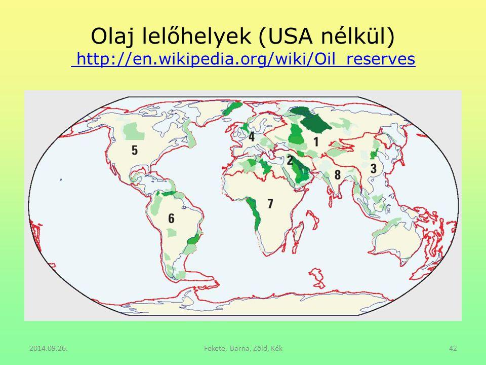 Olaj lelőhelyek (USA nélkül) http://en.wikipedia.org/wiki/Oil_reserves http://en.wikipedia.org/wiki/Oil_reserves 2014.09.26.Fekete, Barna, Zöld, Kék42