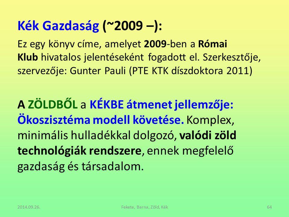 Kék Gazdaság (~2009 –): Ez egy könyv címe, amelyet 2009-ben a Római Klub hivatalos jelentéseként fogadott el. Szerkesztője, szervezője: Gunter Pauli (