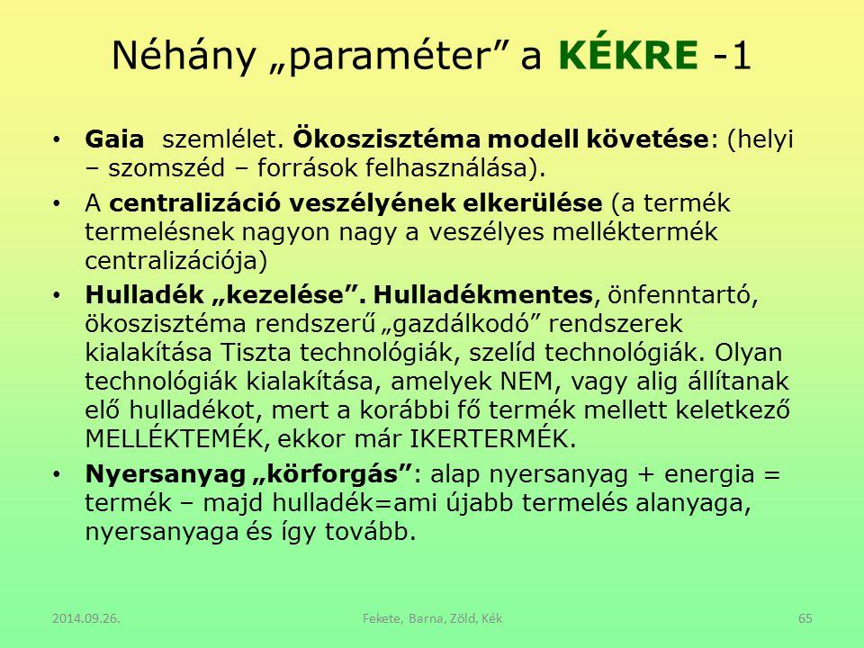 """Néhány """"paraméter"""" a KÉKRE -1 Gaia szemlélet. Ökoszisztéma modell követése: (helyi – szomszéd – források felhasználása). A centralizáció veszélyének e"""