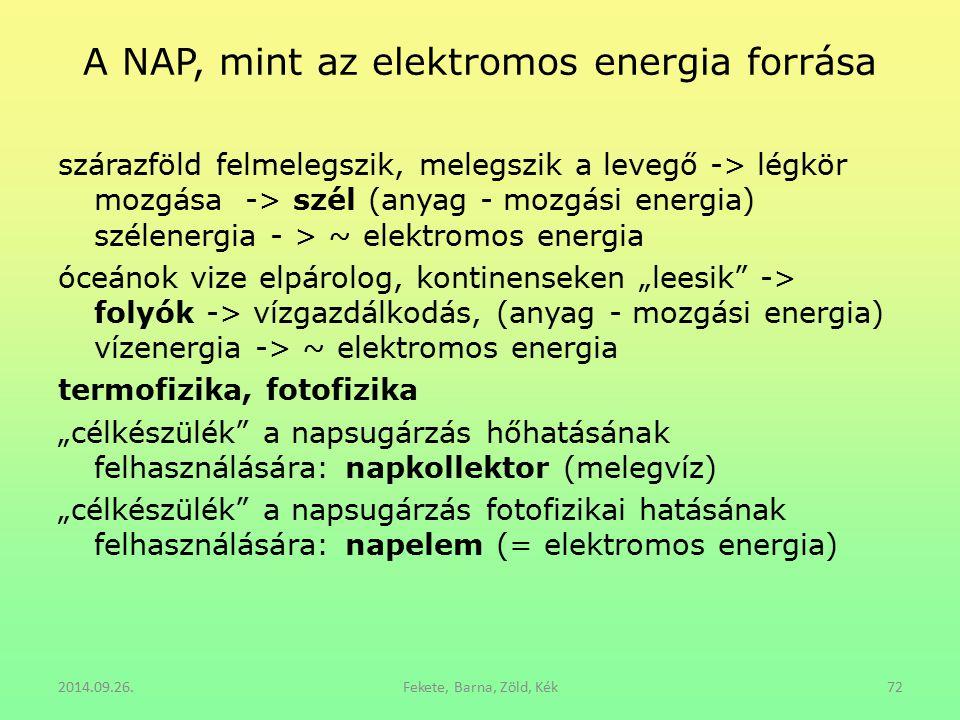 A NAP, mint az elektromos energia forrása szárazföld felmelegszik, melegszik a levegő -> légkör mozgása -> szél (anyag - mozgási energia) szélenergia
