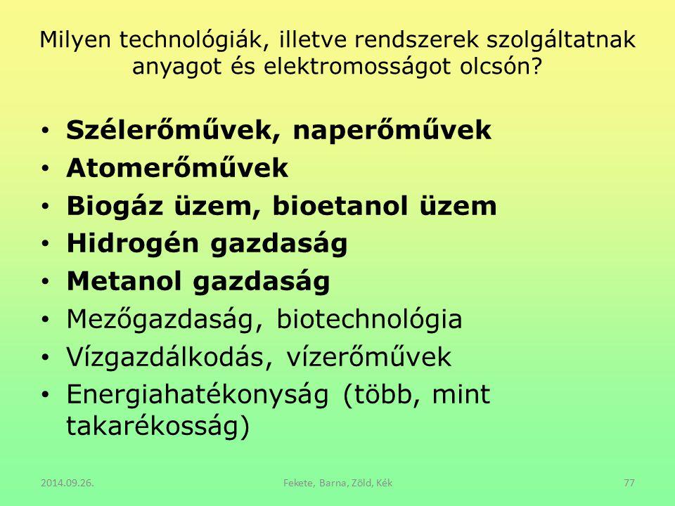 Milyen technológiák, illetve rendszerek szolgáltatnak anyagot és elektromosságot olcsón? Szélerőművek, naperőművek Atomerőművek Biogáz üzem, bioetanol