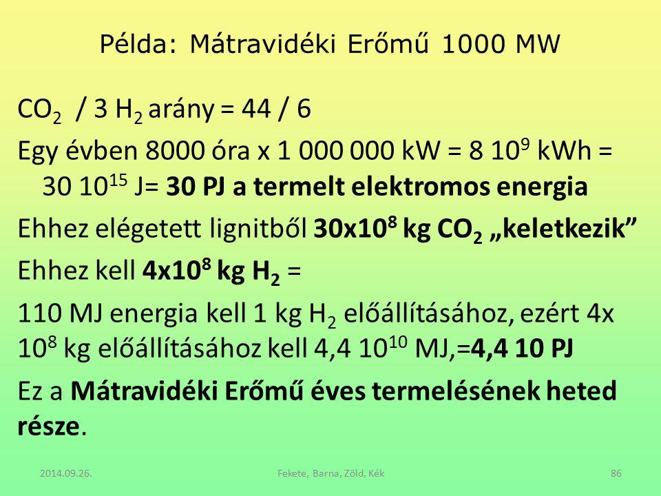 Példa: Mátravidéki Erőmű 1000 MW CO 2 / 3 H 2 arány = 44 / 6 Egy évben 8000 óra x 1 000 000 kW = 8 10 9 kWh = 30 10 15 J= 30 PJ a termelt elektromos e