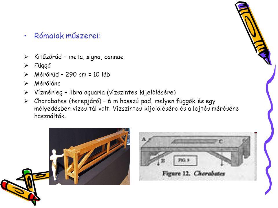 Rómaiak műszerei:  Kitűzőrúd – meta, signa, cannae  Függő  Mérőrúd – 290 cm = 10 láb  Mérőlánc  Vízmérleg – libra aquaria (vízszintes kijelölésér