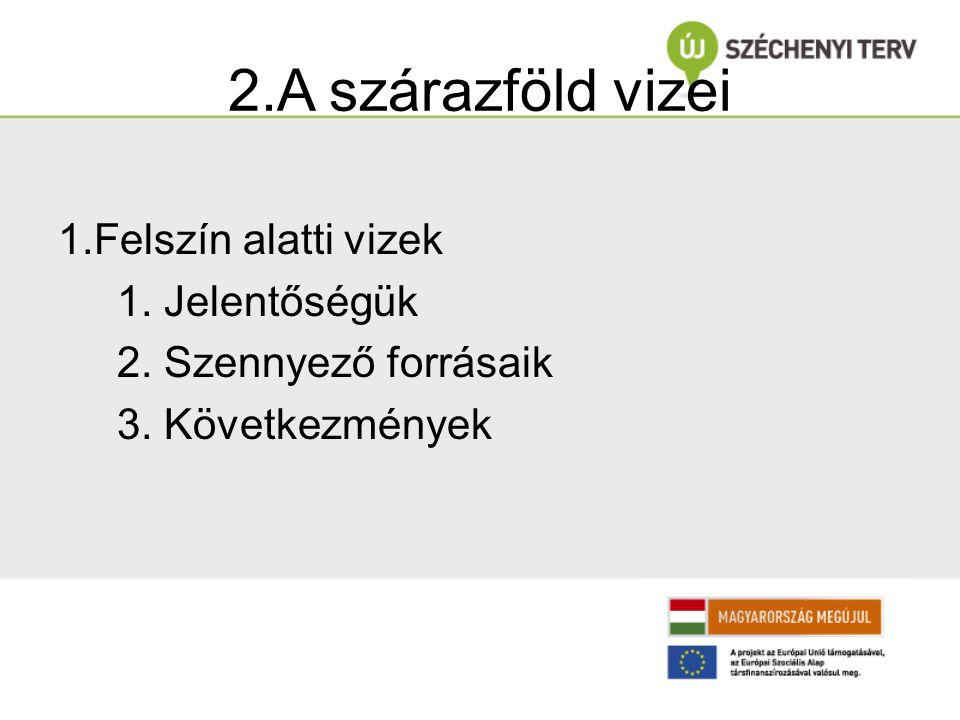 2.A szárazföld vizei 1.Felszín alatti vizek 1. Jelentőségük 2. Szennyező forrásaik 3. Következmények