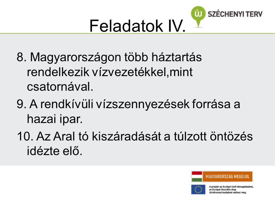 Feladatok IV. 8. Magyarországon több háztartás rendelkezik vízvezetékkel,mint csatornával. 9. A rendkívüli vízszennyezések forrása a hazai ipar. 10. A