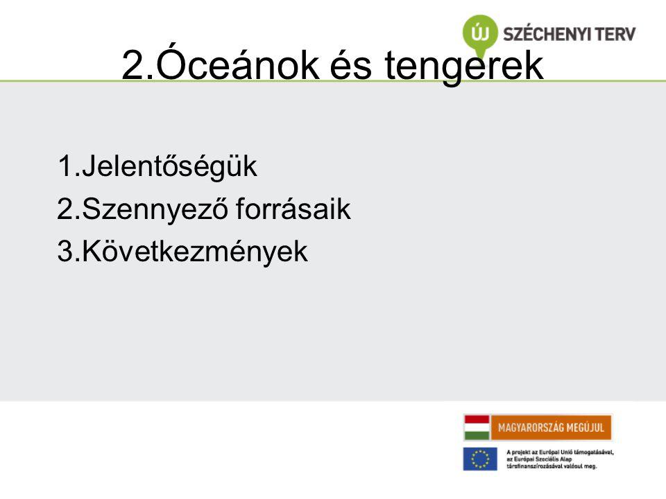 2.Óceánok és tengerek 1.Jelentőségük 2.Szennyező forrásaik 3.Következmények