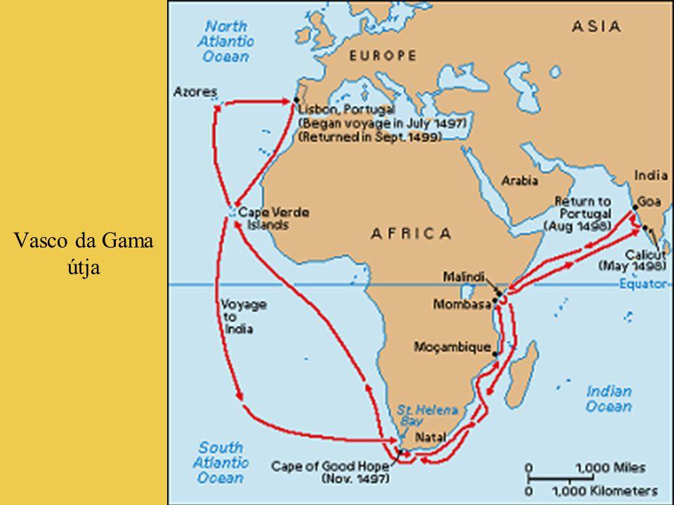"""Vasco da Gama fiatal- és öregkori portréja; nevéhez fűzödik az általa bejárt hatalmas tengeri út """"Indiai-óceán""""-ként való elnevezése"""