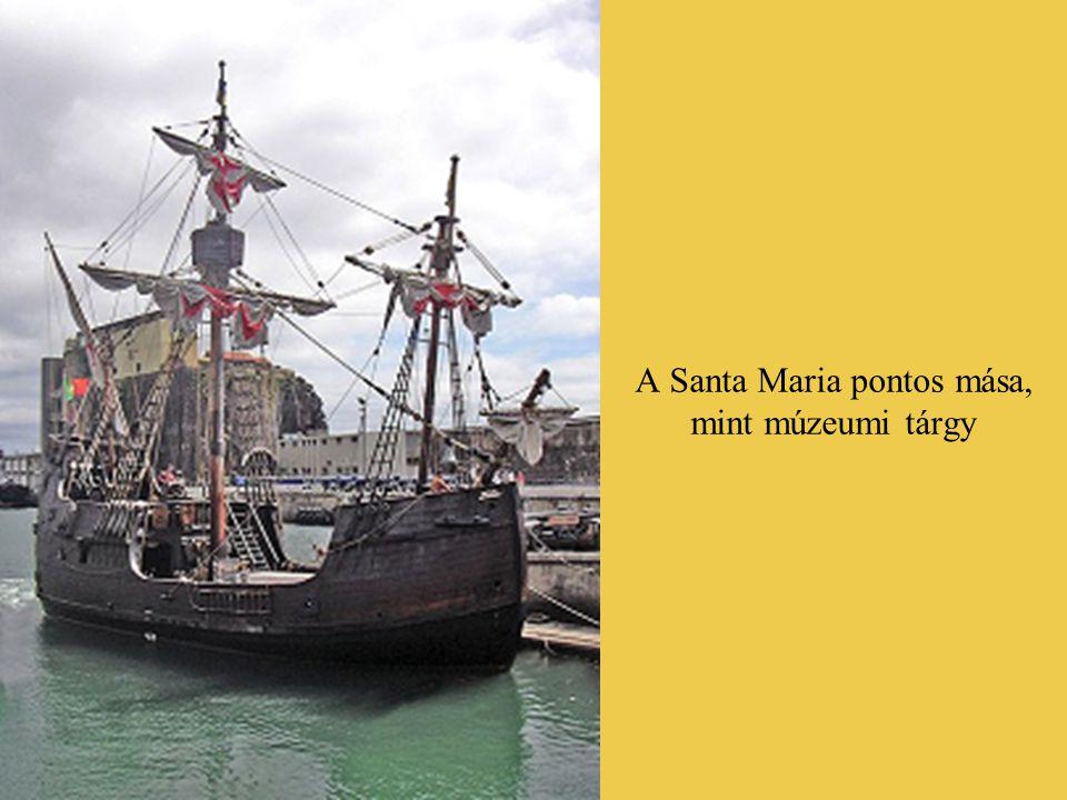 Kolumbusz három hajója (balról jobbra), ismeretlen grafikusművész tusrajzán: a Santa Maria, a Niña (ejtsd: ninya), és a Pinta