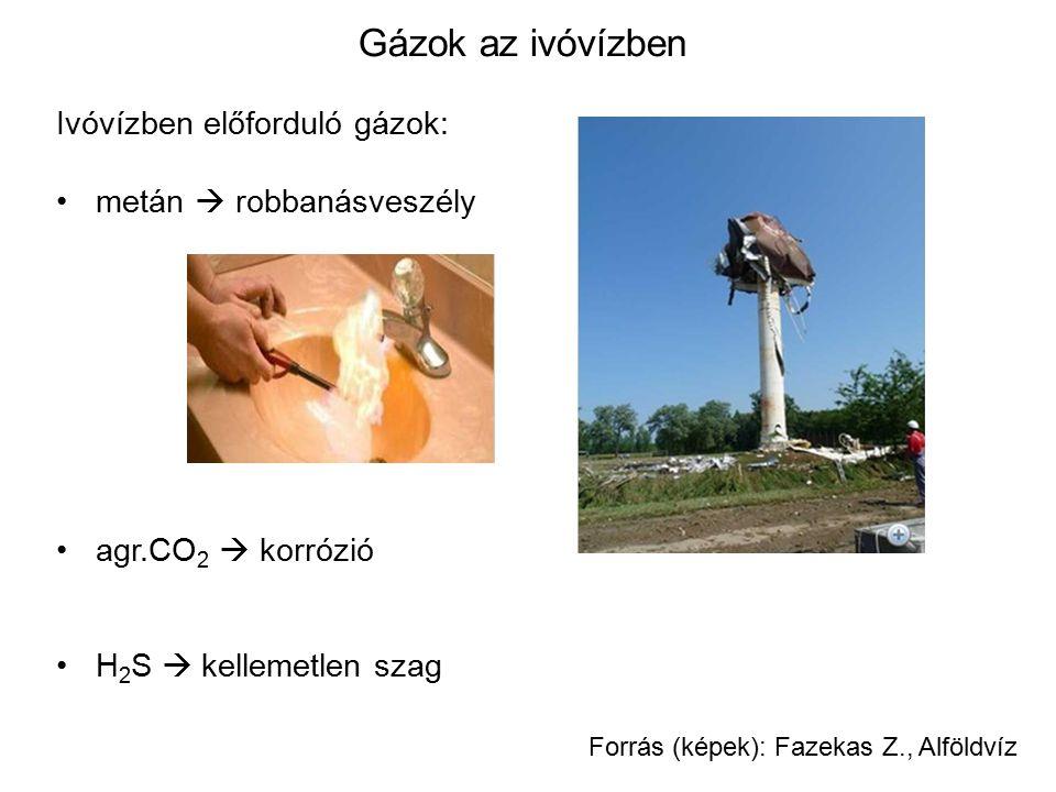 Gázok az ivóvízben Ivóvízben előforduló gázok: metán  robbanásveszély agr.CO 2  korrózió H 2 S  kellemetlen szag Forrás (képek): Fazekas Z., Alföld