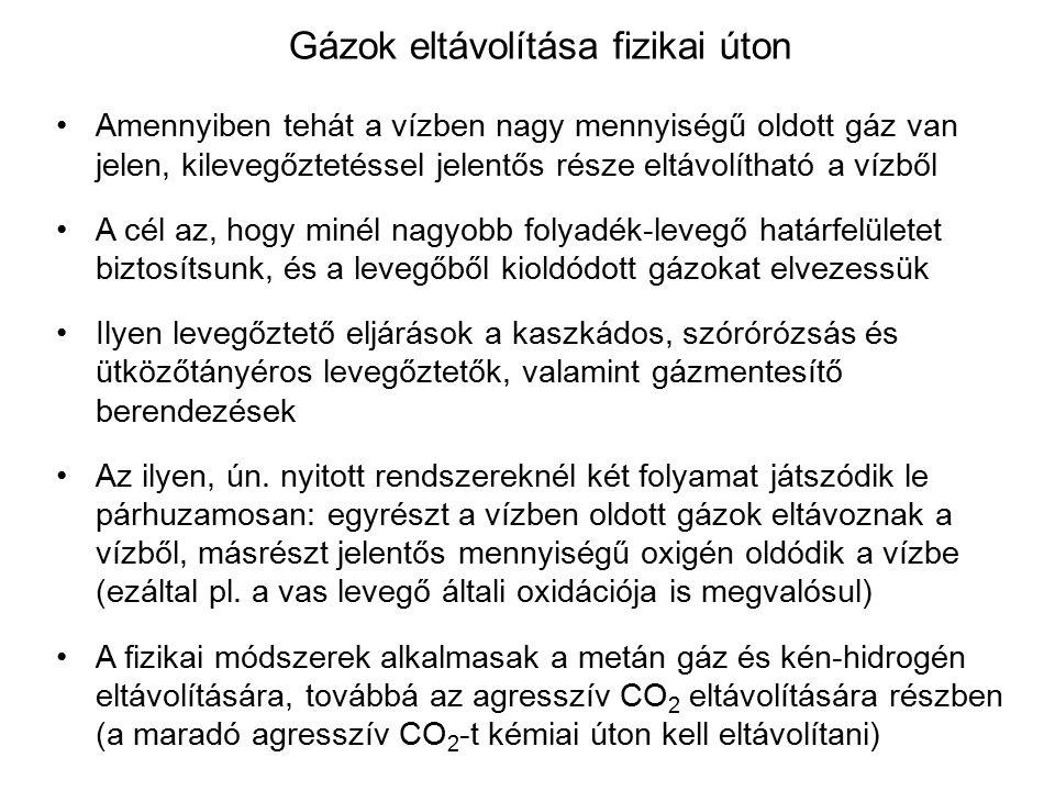 Gázok eltávolítása fizikai úton Amennyiben tehát a vízben nagy mennyiségű oldott gáz van jelen, kilevegőztetéssel jelentős része eltávolítható a vízbő