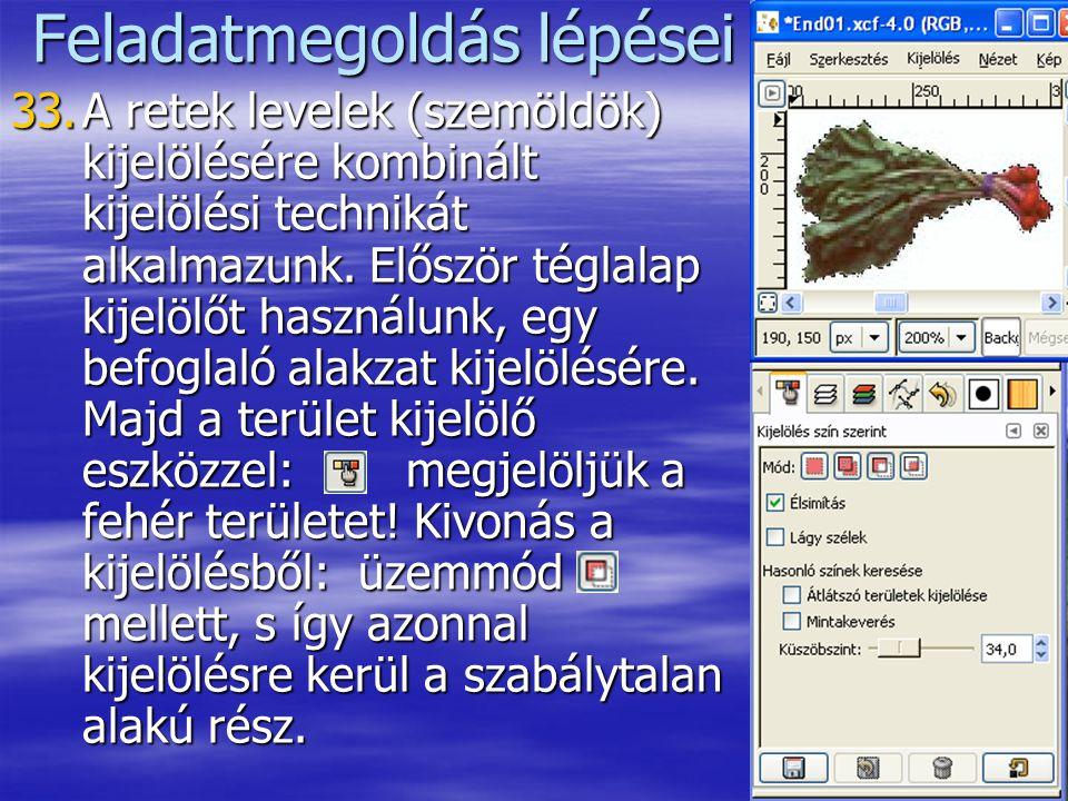 18 Feladatmegoldás lépései 33.A retek levelek (szemöldök) kijelölésére kombinált kijelölési technikát alkalmazunk. Először téglalap kijelölőt használu