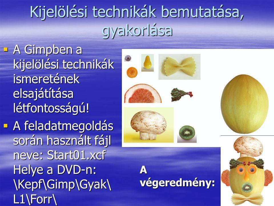 2 Kijelölési technikák bemutatása, gyakorlása  A Gimpben a kijelölési technikák ismeretének elsajátítása létfontosságú!  A feladatmegoldás során has
