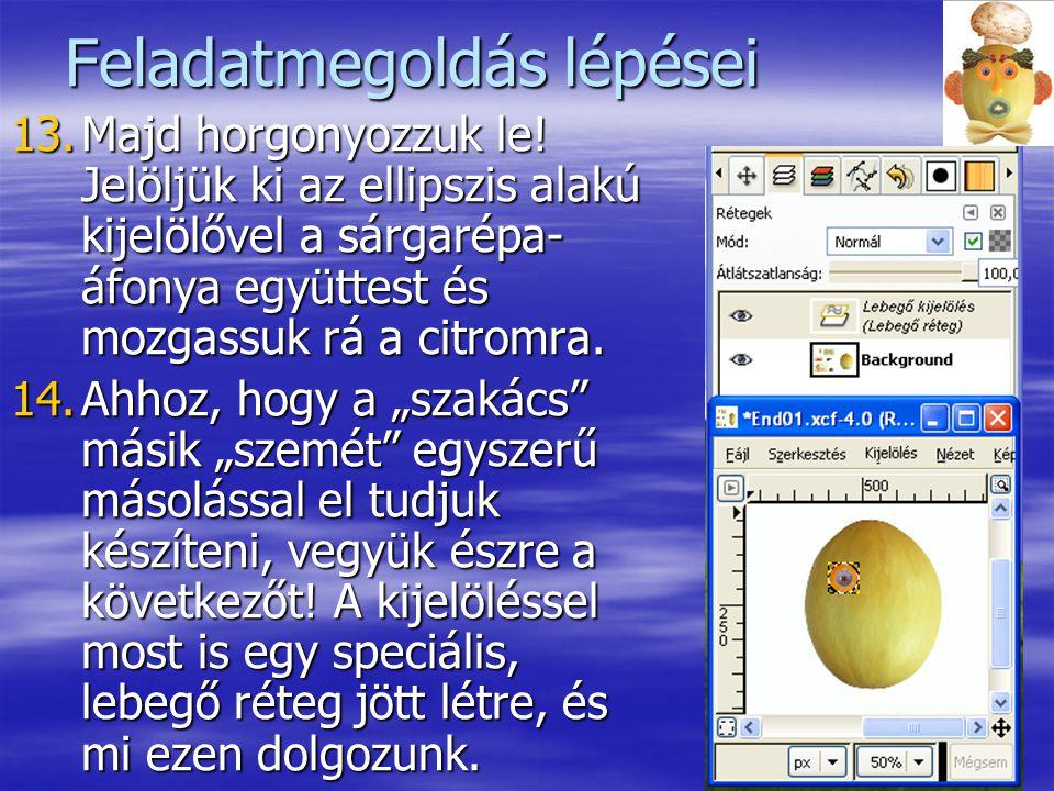 8 Feladatmegoldás lépései 13.Majd horgonyozzuk le! Jelöljük ki az ellipszis alakú kijelölővel a sárgarépa- áfonya együttest és mozgassuk rá a citromra