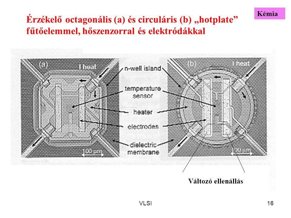 """VLSI16 Érzékelő octagonális (a) és circuláris (b) """"hotplate fűtőelemmel, hőszenzorral és elektródákkal Változó ellenállás Kémia"""