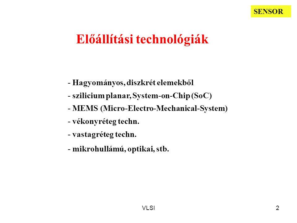 VLSI2 Előállítási technológiák - Hagyományos, diszkrét elemekből - szilicium planar, System-on-Chip (SoC) - MEMS (Micro-Electro-Mechanical-System) - vékonyréteg techn.