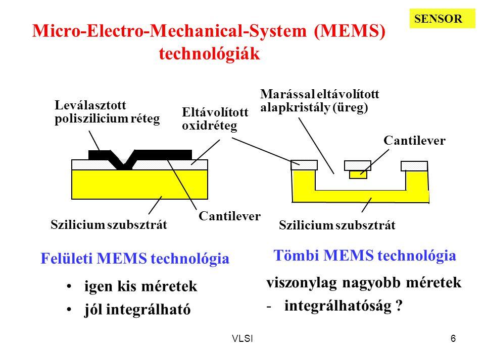 VLSI6 Micro-Electro-Mechanical-System (MEMS) technológiák Eltávolított oxidréteg Szilicium szubsztrát Leválasztott poliszilicium réteg Szilicium szubsztrát Marással eltávolított alapkristály (üreg) Cantilever Felületi MEMS technológia Tömbi MEMS technológia igen kis méretek jól integrálható viszonylag nagyobb méretek -integrálhatóság .