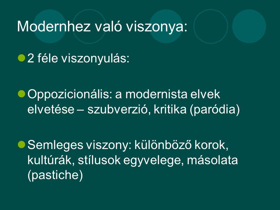 Modernhez való viszonya: 2 féle viszonyulás: Oppozicionális: a modernista elvek elvetése – szubverzió, kritika (paródia) Semleges viszony: különböző korok, kultúrák, stílusok egyvelege, másolata (pastiche)