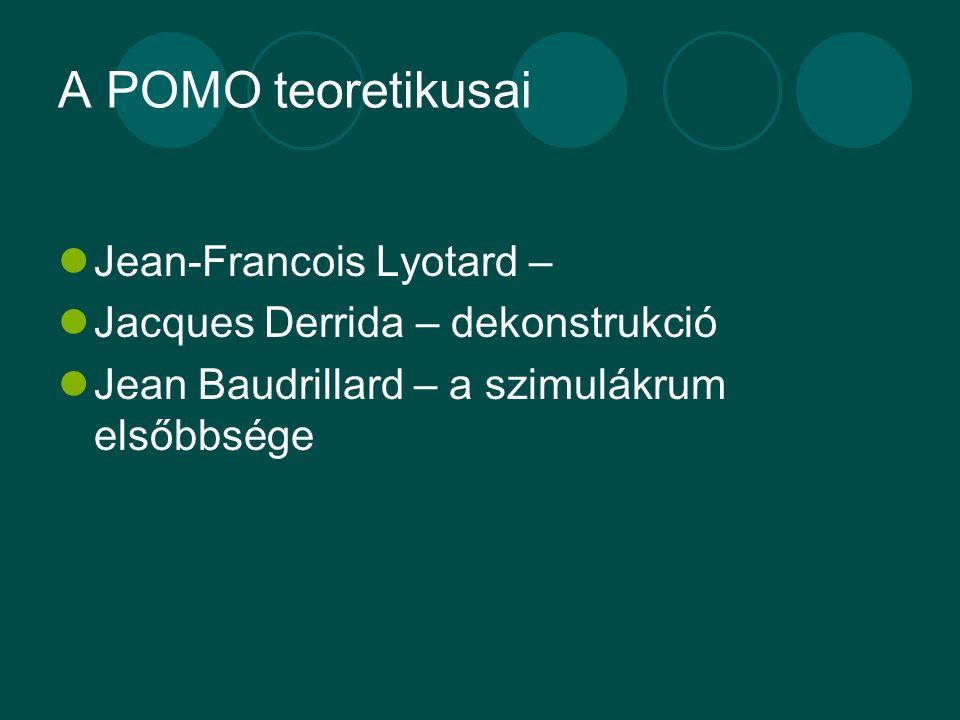 A POMO teoretikusai Jean-Francois Lyotard – Jacques Derrida – dekonstrukció Jean Baudrillard – a szimulákrum elsőbbsége