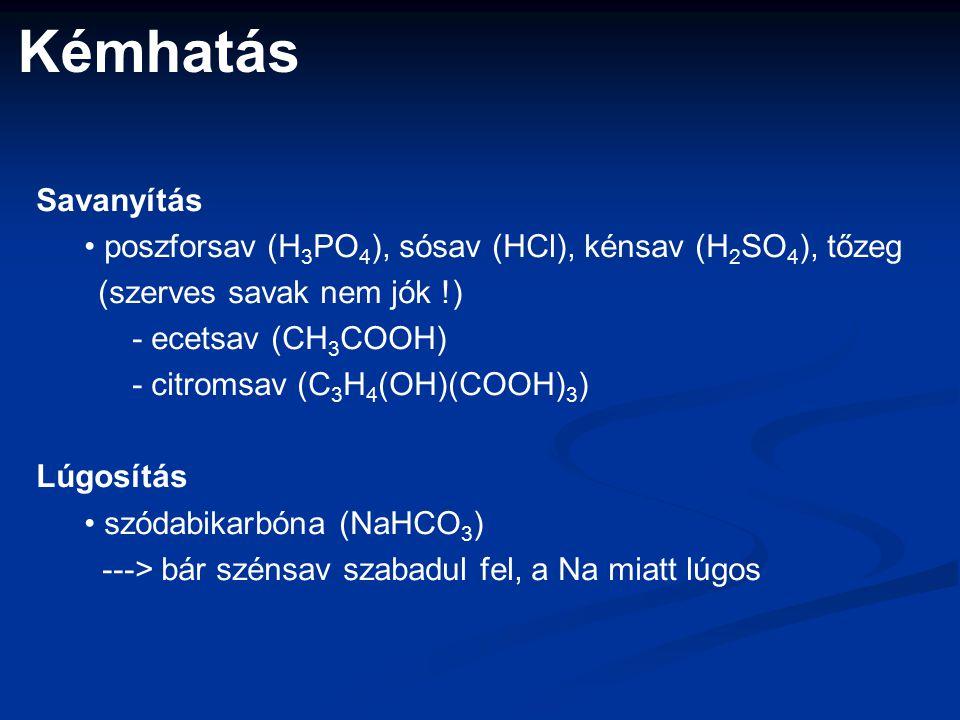 Savanyítás poszforsav (H 3 PO 4 ), sósav (HCl), kénsav (H 2 SO 4 ), tőzeg (szerves savak nem jók !) - ecetsav (CH 3 COOH) - citromsav (C 3 H 4 (OH)(COOH) 3 ) Lúgosítás szódabikarbóna (NaHCO 3 ) ---> bár szénsav szabadul fel, a Na miatt lúgos Kémhatás