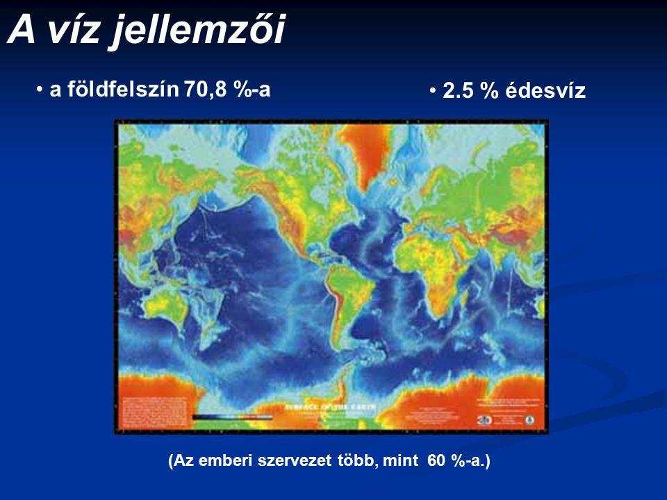 A víz jellemzői a földfelszín 70,8 %-a 2.5 % édesvíz (Az emberi szervezet több, mint 60 %-a.)
