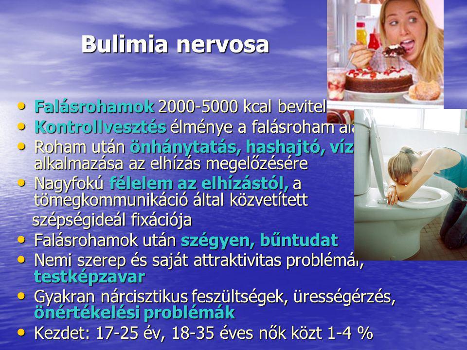 Bulimia nervosa Bulimia nervosa Falásrohamok 2000-5000 kcal bevitele Falásrohamok 2000-5000 kcal bevitele Kontrollvesztés élménye a falásroham alatt Kontrollvesztés élménye a falásroham alatt Roham után önhánytatás, hashajtó, vízhajtó alkalmazása az elhízás megelőzésére Roham után önhánytatás, hashajtó, vízhajtó alkalmazása az elhízás megelőzésére Nagyfokú félelem az elhízástól, a tömegkommunikáció által közvetített Nagyfokú félelem az elhízástól, a tömegkommunikáció által közvetített szépségideál fixációja szépségideál fixációja Falásrohamok után szégyen, bűntudat Falásrohamok után szégyen, bűntudat Nemi szerep és saját attraktivitas problémái, testképzavar Nemi szerep és saját attraktivitas problémái, testképzavar Gyakran nárcisztikus feszültségek, ürességérzés, önértékelési problémák Gyakran nárcisztikus feszültségek, ürességérzés, önértékelési problémák Kezdet: 17-25 év, 18-35 éves nők közt 1-4 % Kezdet: 17-25 év, 18-35 éves nők közt 1-4 %