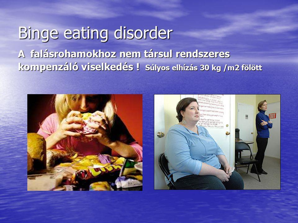 Binge eating disorder A falásrohamokhoz nem társul rendszeres kompenzáló viselkedés .