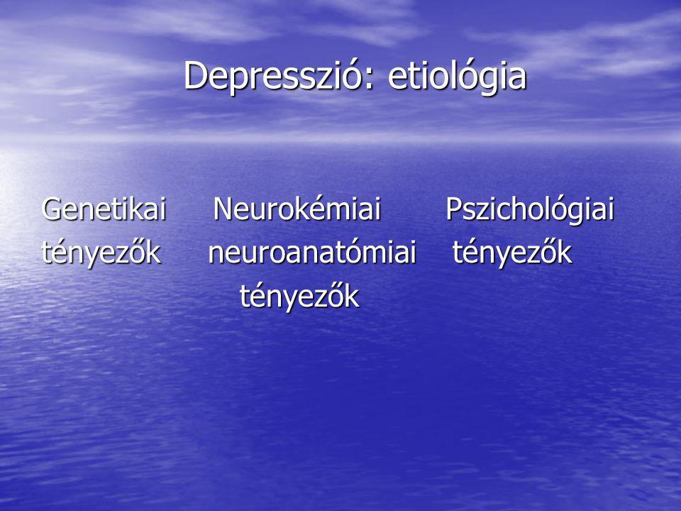 Depresszió: etiológia Depresszió: etiológia Genetikai Neurokémiai Pszichológiai tényezők neuroanatómiai tényezők tényezők tényezők
