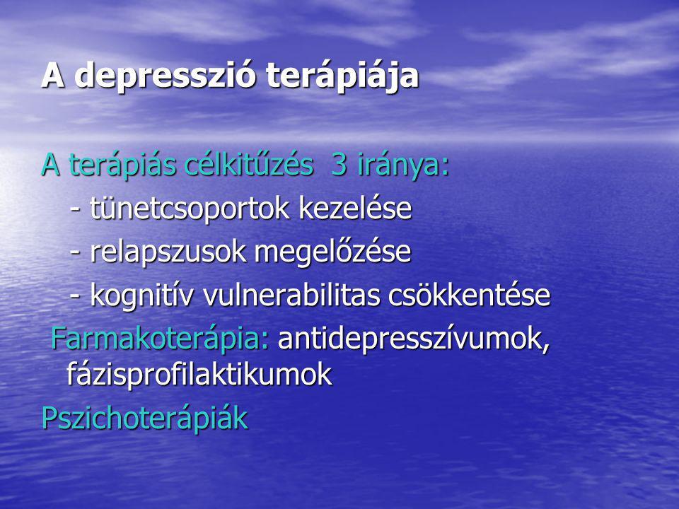 A depresszió terápiája A terápiás célkitűzés 3 iránya: - tünetcsoportok kezelése - tünetcsoportok kezelése - relapszusok megelőzése - relapszusok megelőzése - kognitív vulnerabilitas csökkentése - kognitív vulnerabilitas csökkentése Farmakoterápia: antidepresszívumok, fázisprofilaktikumok Farmakoterápia: antidepresszívumok, fázisprofilaktikumokPszichoterápiák
