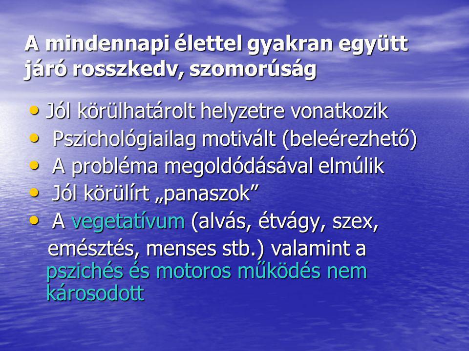 """Bipoláris affekív zavarok ( mániás depressziós zavar ) A hangulati élet és az aktivitás változásával járó epizódok, amelyek egyrészt a hangulat emelkedését, az aktivitás fokozódását ( hipománia, mánia ) vagy ennek az ellenkezőjét a hangulat esését, a lelki energiák, az aktivitás csökkenését jelentik A hangulati élet és az aktivitás változásával járó epizódok, amelyek egyrészt a hangulat emelkedését, az aktivitás fokozódását ( hipománia, mánia ) vagy ennek az ellenkezőjét a hangulat esését, a lelki energiák, az aktivitás csökkenését jelentik """"Érzelmi hullámvasút Prevalencia ( nemzetközi ) : 0,8- 1.5 %"""