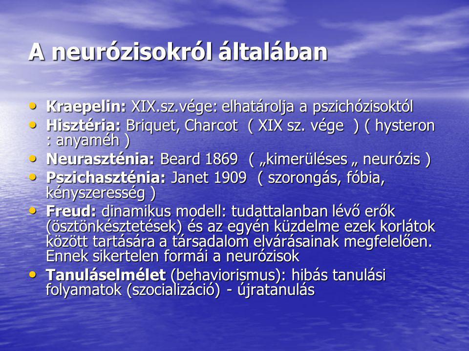 A neurózisokról általában Kraepelin: XIX.sz.vége: elhatárolja a pszichózisoktól Kraepelin: XIX.sz.vége: elhatárolja a pszichózisoktól Hisztéria: Briquet, Charcot ( XIX sz.