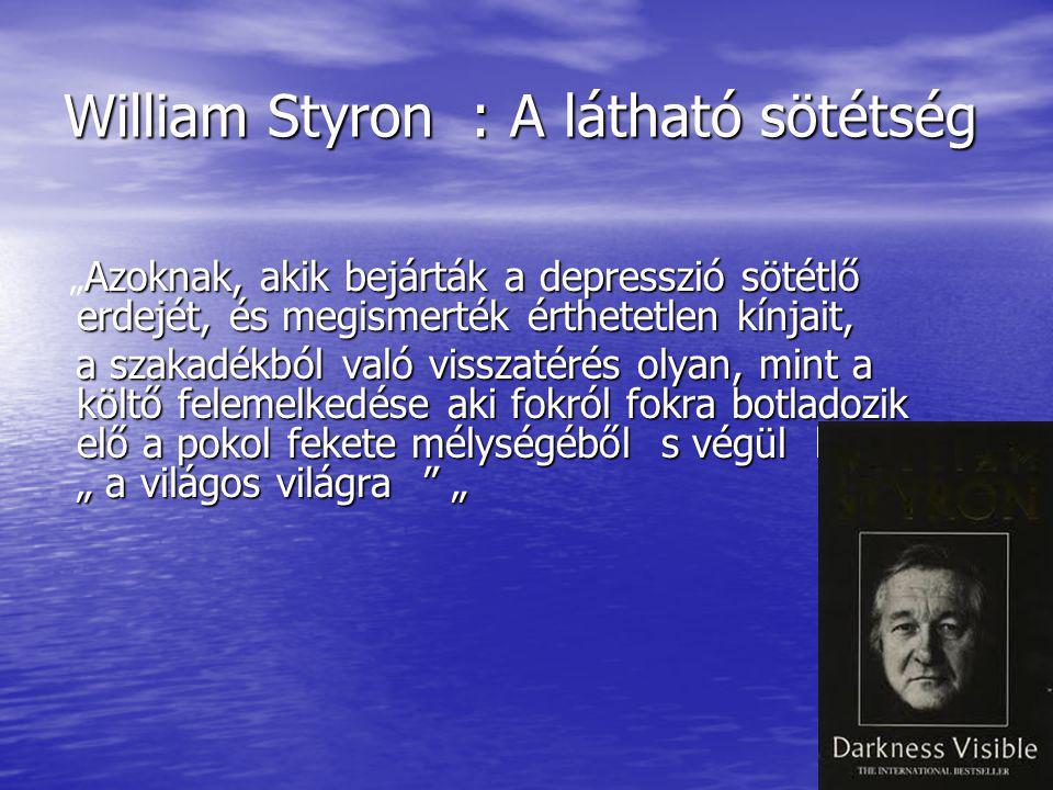 """William Styron : A látható sötétség Azoknak, akik bejárták a depresszió sötétlő erdejét, és megismerték érthetetlen kínjait, """" Azoknak, akik bejárták a depresszió sötétlő erdejét, és megismerték érthetetlen kínjait, a szakadékból való visszatérés olyan, mint a költő felemelkedése aki fokról fokra botladozik elő a pokol fekete mélységéből s végül kiér """" a világos világra """" a szakadékból való visszatérés olyan, mint a költő felemelkedése aki fokról fokra botladozik elő a pokol fekete mélységéből s végül kiér """" a világos világra """""""