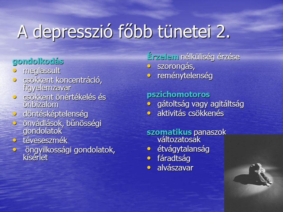 A depressziók szindromatológiai osztályozása A depressziók szindromatológiai osztályozása Enyhe depressziós epizód Enyhe depressziós epizód Közepes depressziós epizód Közepes depressziós epizód Súlyos depressziós epizód Súlyos depressziós epizód Súlyos depresszió pszichotikus tünetekkel ( téves eszmék, hallucinációk) Súlyos depresszió pszichotikus tünetekkel ( téves eszmék, hallucinációk) Atípusos depresszió Atípusos depresszió Schizoaffektív pszichózis depressziós típusa Schizoaffektív pszichózis depressziós típusa Disztímia ( neurotikus depresszió ) Disztímia ( neurotikus depresszió )