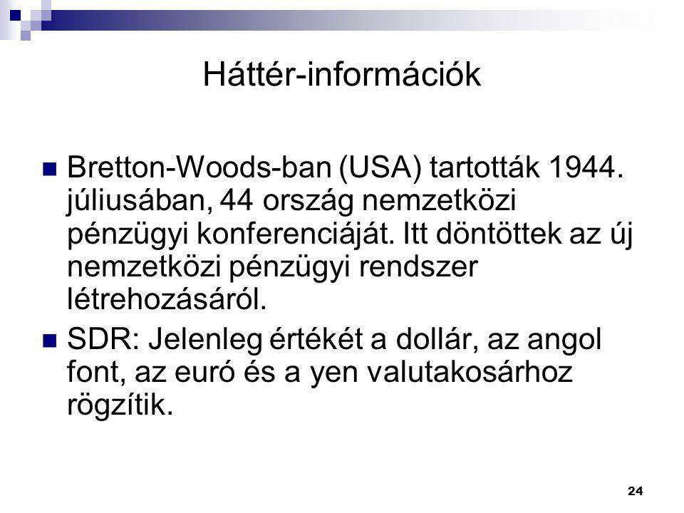 24 Háttér-információk Bretton-Woods-ban (USA) tartották 1944. júliusában, 44 ország nemzetközi pénzügyi konferenciáját. Itt döntöttek az új nemzetközi