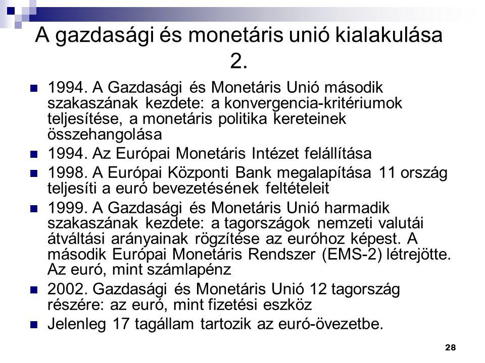 28 A gazdasági és monetáris unió kialakulása 2. 1994. A Gazdasági és Monetáris Unió második szakaszának kezdete: a konvergencia-kritériumok teljesítés