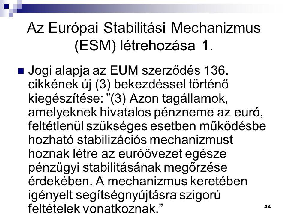 """44 Jogi alapja az EUM szerződés 136. cikkének új (3) bekezdéssel történő kiegészítése: """"(3) Azon tagállamok, amelyeknek hivatalos pénzneme az euró, fe"""
