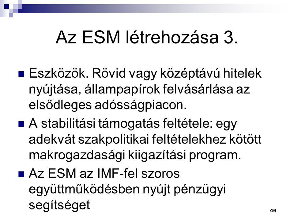 46 Az ESM létrehozása 3. Eszközök. Rövid vagy középtávú hitelek nyújtása, állampapírok felvásárlása az elsődleges adósságpiacon. A stabilitási támogat